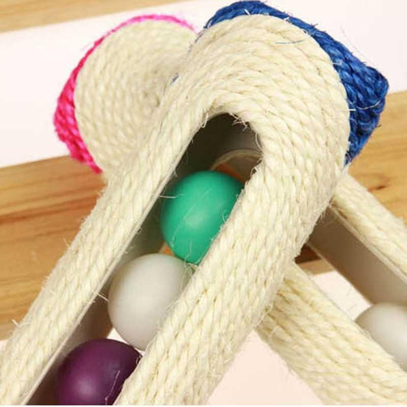 Cat Post Toy Scratching Natural Sisal Kitten Pet Scratch With Colorful Balls - intl
