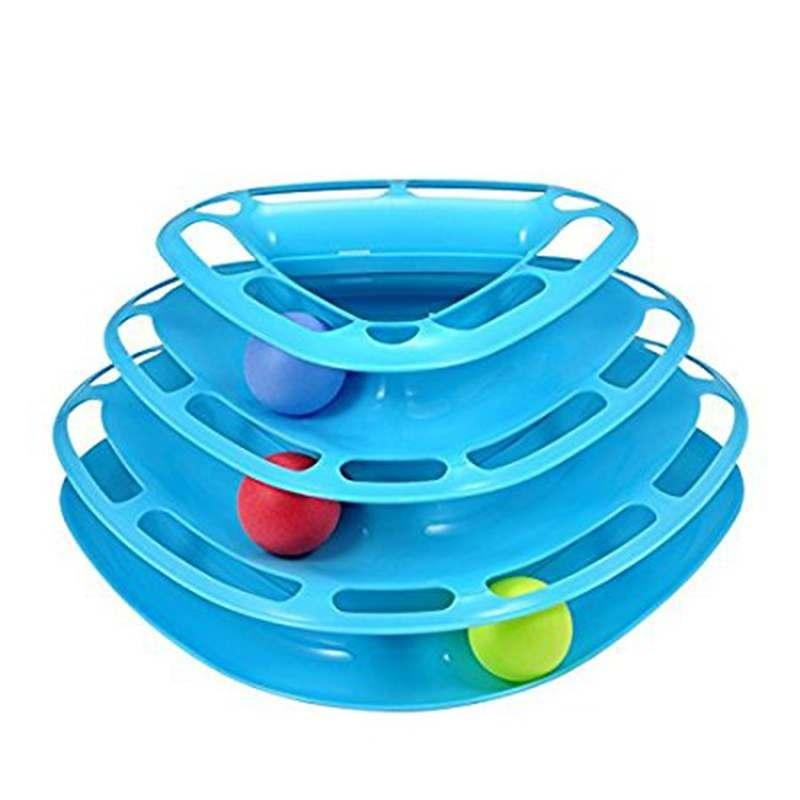 Cat Toy triangle Tower With Balls Turntable Kitten Play ExercisePet supplies - intl