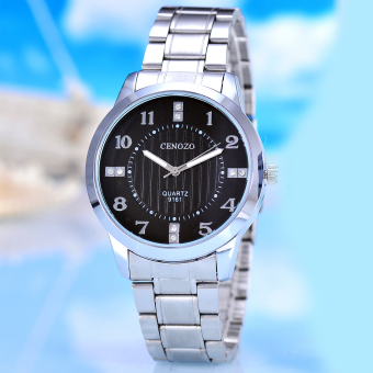 Cenozo - Jam Tangan Pria - Body Silver - Black Dial - Silver Stainless Steel Band - CNZ-RT-9161B-G-SB - Stainless Steel Band
