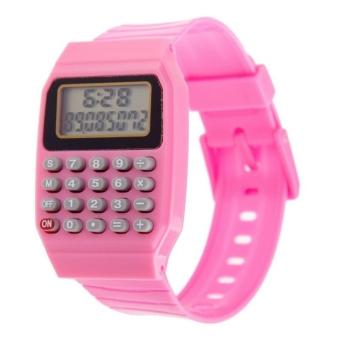 Anak Nak Tanggal Multifungsi Kalkulator Elektronik Mini Silikon Pergelangan Tangan Perhiasan Berwarna Merah Muda