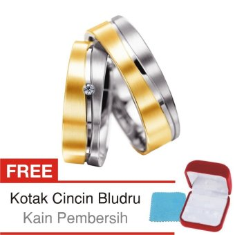 Gambar Cincin Tunangan Couple Perak Lapis Emas Rhodium D.04 Silver Exclusive