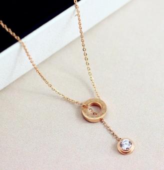Perbandingan harga Cinta 18 k Korea Fashion Style naik berlapis emas tunggal bor kalung Hari Valentine hadiah Anggaran Terbaik