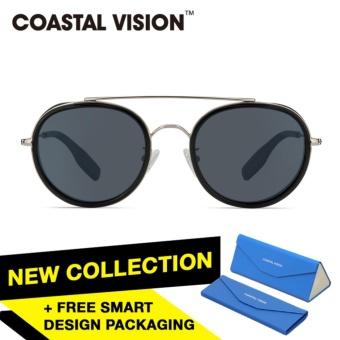... COASTAL VISION Kacamata Terpolarisasi Wanita Hitam Bundar Lengan Kacamata Silver Proteksi UV 400 Lensa Hitam CVS6413SV ...