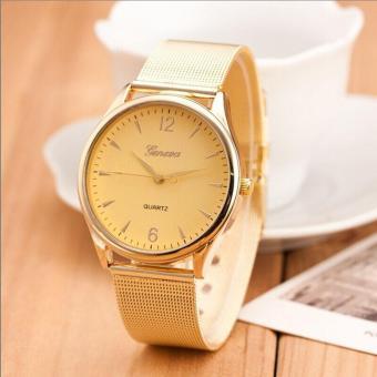 coconie Fashion Womens Classic Gold Geneva Quartz Stainless Steel Wrist Watch - intl
