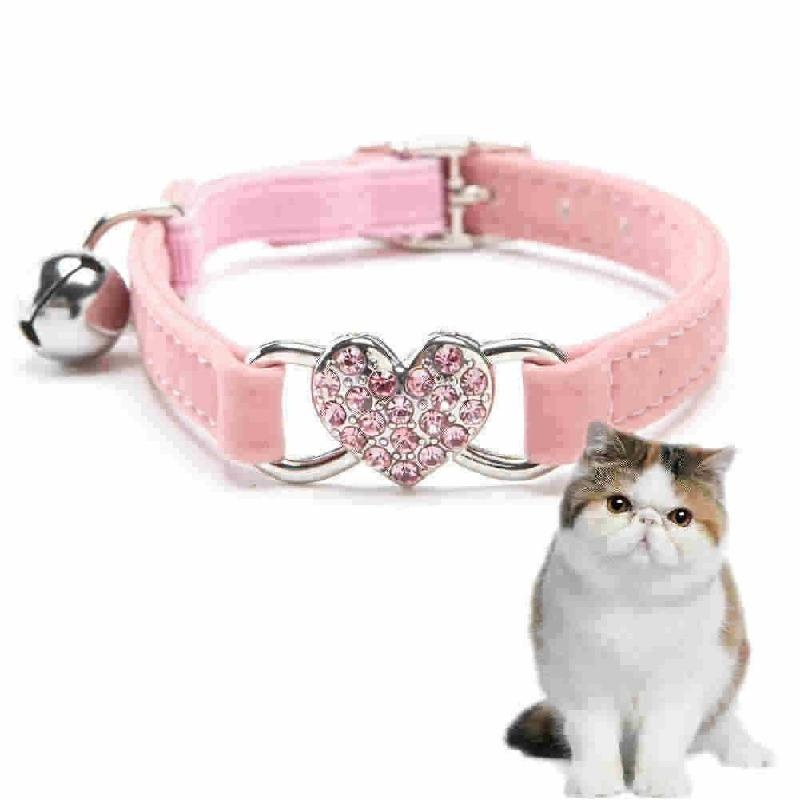 Cocotina Cute Crystal Elastic Dog Collar Velvet Bell Heart Shape Pet Necklacce Pink - intl