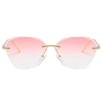 Shock Price Warna Ocean Lembar Frameless Sunglasses Logam Sunglasses Women Tren Sunglasses-Bingkai Emas Gradient