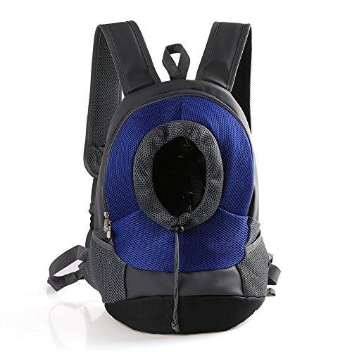 Comfortable Mesh Dog Cat Carrier Backpack Outdoor Travel Backpackwith Adjustable Viewing Hole(Blue,S) - intl