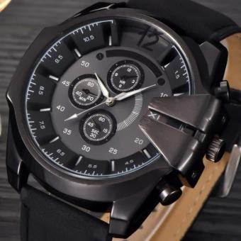 Cool Men's Watch Analog Sport Steel Case QUARTZ Dial Leather Wrist Watch Gift-Intl