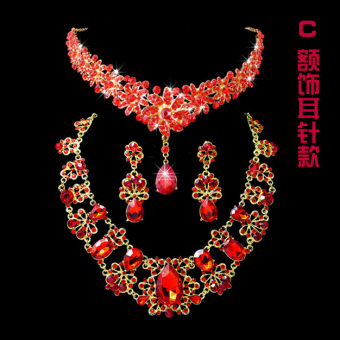 Mahkota Model Korea Batu Kristal Udara Merah Mempelai Wanita Mutiara Kalung