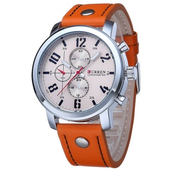 CURREN Pria Olahraga QUARTZ Watches Mens Watches Kulit Watchband Jam Tangan Kasual Watch Men Original 8192 (OrangeSilver) -Intl