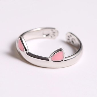Cute Cat's Paws Cat's Ears Open Rings 925 Sterling Silver Rings forWomen Jewelry(Pink Ears) - intl