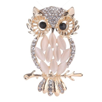 Cute Gold Plated Owl Opal Rhinestone Brooch Pin Decor Accessories(Gold) - intl