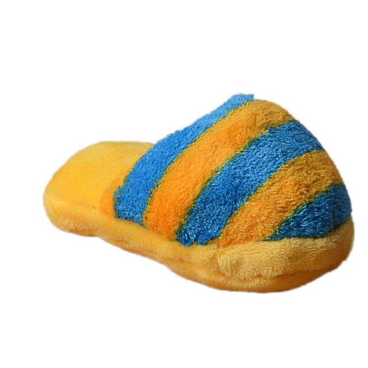 Cute stripe Plush Slipper Shxxape Squeaky Toy Puppy Chew Play Toy Sound Pet Supplies for Dogs Resistance to Bite 9.5*17cm - intl