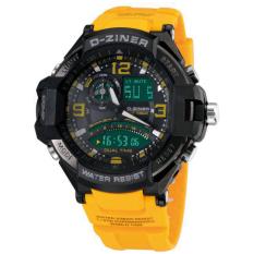 D-ziner Dz0433 Dual Time Jam Tangan Pria Rubber Strap (Abu-Hitam)