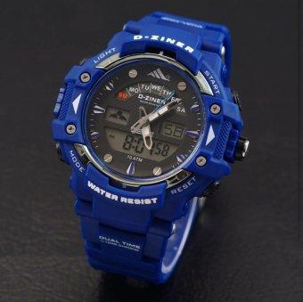 D Ziner Dual Time Dz7554ds Jam Tangan Pria Rubber Strap Blue Harga .