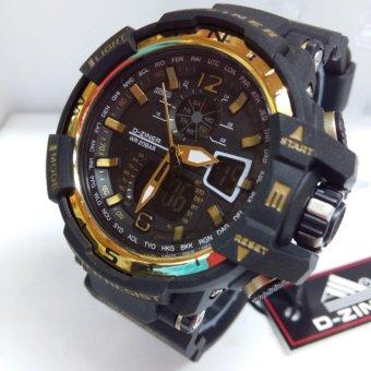 D-Ziner Jam Tangan Pria Original Dual Time Sporty D 0034A Hitam - Gold