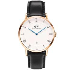 Daniel Wellington 1101DW Jam Tangan Pria Dapper Sheffield 38MM Men Genuine Leather Watch - Black White