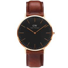 Daniel Wellington DW00100136 Jam Tangan Pria Wanita Classic Black St. Mawes 36MM Men Women Genuine Leather Watch - Brown Black