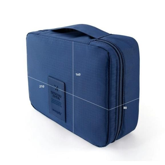 Desain simple DeeHaya Store Tas Travel Bag in Bag Organizer untuk Kosmetik dan Sabun – Navy