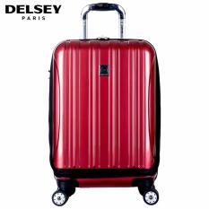 Delsey Helium Aero Tas Koper 55cm 4Wheels Cabin Hard Case with Front Storage Trolley -  Merah