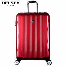 Delsey Helium Aero Tas Koper 81cm 4Wheels Glossy Large Hard Case Trolley - Merah