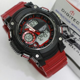 Digitec Jam Tangan Fashion - Anti Air 100M - Dual Time DG3042T - Red