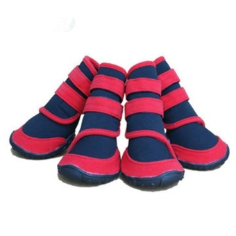 Diotem 4Pcs/Set New Pet Puppy Dog Pet Guardian Gear Water RepellentAll Weather Protective - Red + Black L - intl