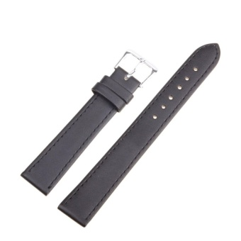 DJ High Quality Store New Women Men High Quality Unisex Leather Blackbrown Watch Strap Band 16Mm - intl