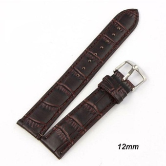 DJ High Quality Store New Women Men High Quality Unisex Bucklestainless Steel Leather Watch Strap Band 16Mm - intl