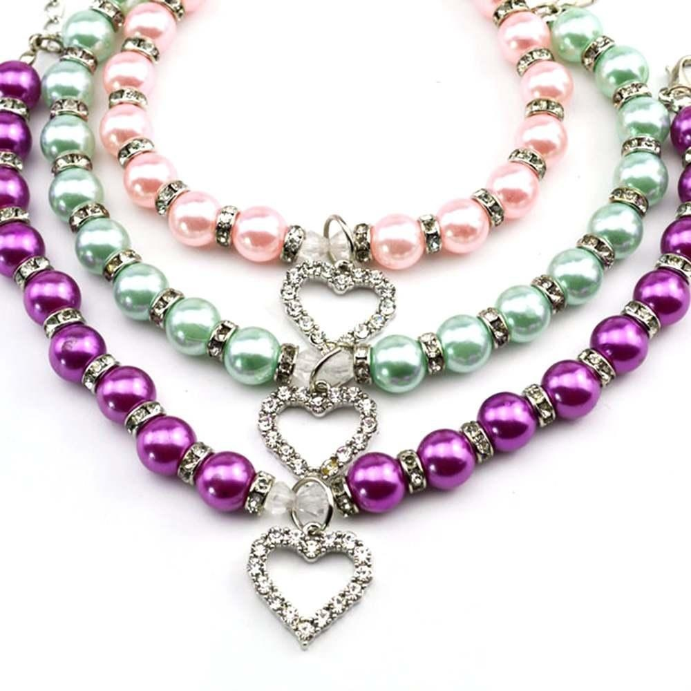 Dog Pet Jewelry Necklace Heart Shape Pendant Cat Identity PearlCollar 2 Size - intl