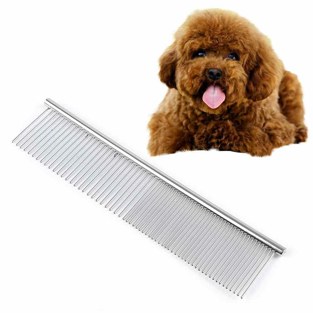 Double-teeth Stainless Steel 19*3.6cm Pet Hair Comb Hair GroomingTools Straight - intl
