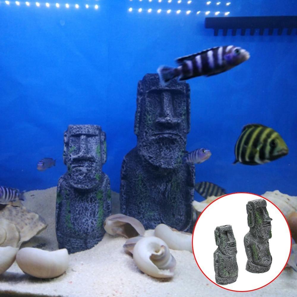 Eachgo Novelty Aquarium Fish Tank Ornament Easter Island FaceStatue Decoration Table Desk Decoration (S) - intl