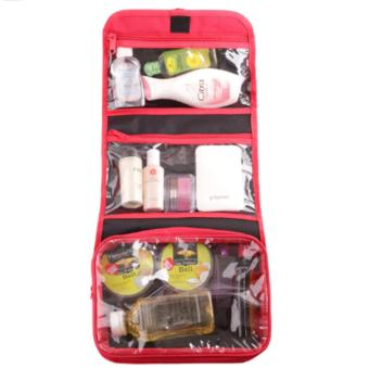Emwe TO Travelling Bag Organizer tas make up Toiletry cosmetic Toiletries bag tas toilet travel mate kosmetik perlengkapan mandi sabun shower bath organizer - merah