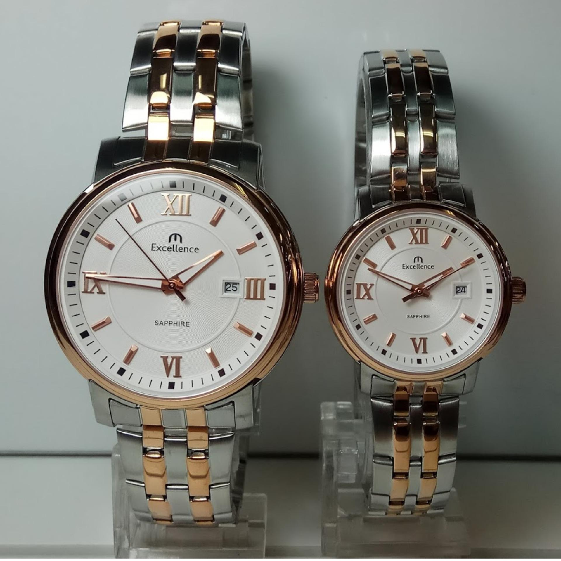 Casio Couple Watch Jam Tangan Silver Strap Stainless Steel 1302d 1a2 Excellence Ex 8122md Ld Sapphire Rosegold