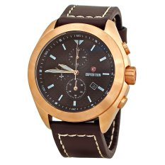 Expedition E6689M - Jam Tangan Pria - Chronograph - Rose Gold Case - Strap Kulit Coklat
