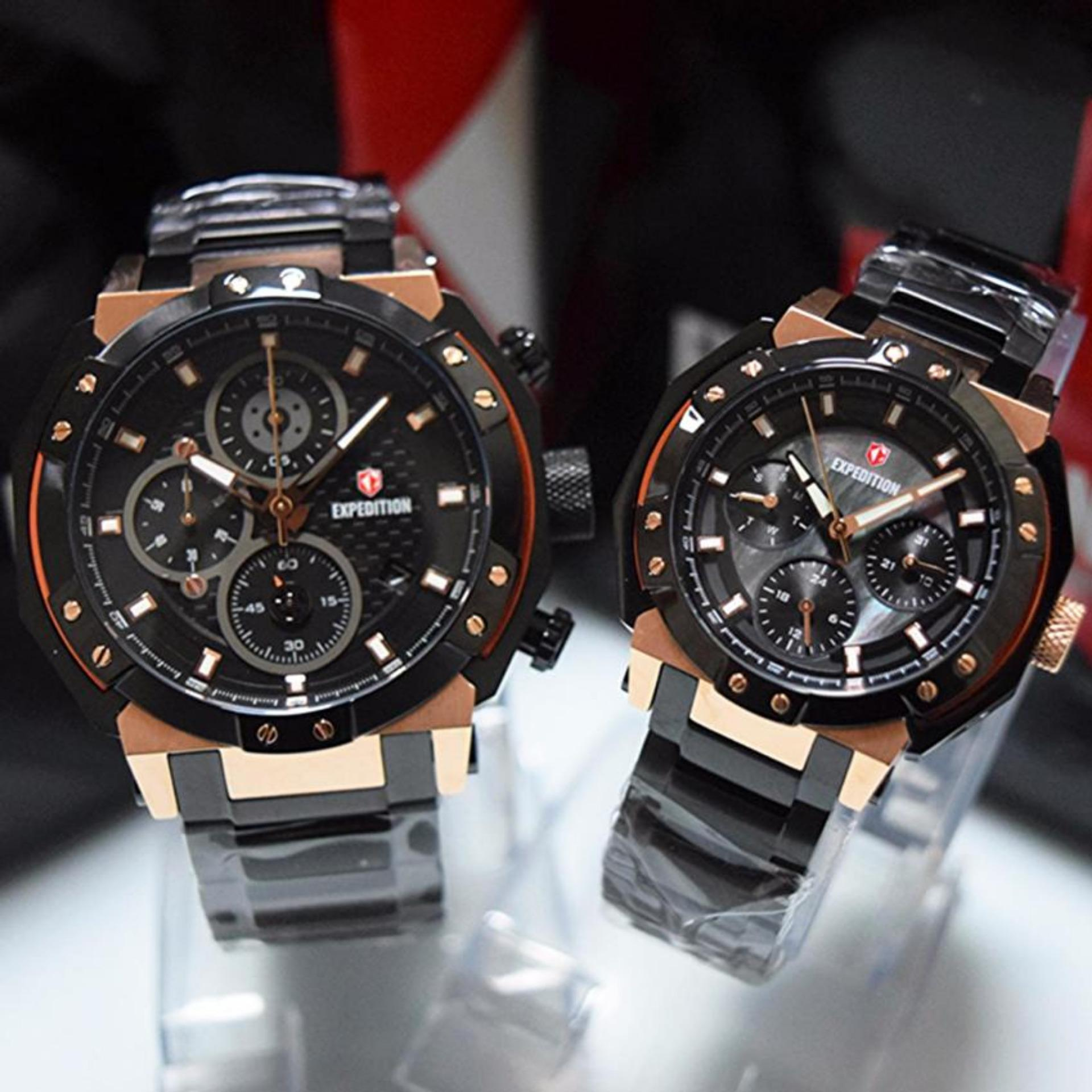 Flash Sale Expedition -EXP171999BLCVN - Jam Tangan Couple - Rose Gold Black - Stainless Steel