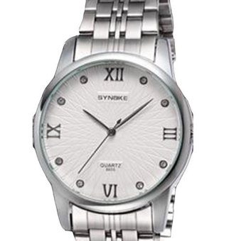 Extendable Men's Watch Stainless Steel Calendar 8605 White Color