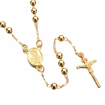 Fancyqube Gold SilverTone Stainless Steel Bead Chain Jesus Christ Cross Pendant Rosary Necklace Mens Womens Jewelry