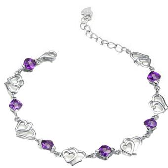 Wanita Fancyqube 925 Sterling Perak jantung ganda kristal gelang rantai gelang Ungu