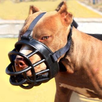 Fang Fang Adjustable Anjing PET Hitam Masker Kulit Gigitan Mesh Mulut Moncong Grooming .