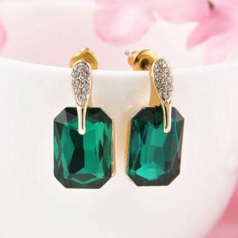 Fang Fashion Wanita Berlapis Emas Zamrud Asli Kristal Berlian Imitasi Anting Tindik Telinga Hadiah Natal (