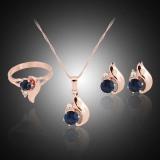 Fang Zirkon Emas Berlapis Perempuan Pernikahan Pasangan Anting-Anting Kalung Cincin Perhiasan .