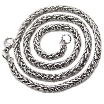 Fang Pria Stainless Steel Gandum Dikepang Link Rantai Kalung (Silver)