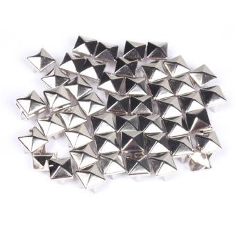 Fashion 7 mm persegi dibetulkan paku keling pejantan remaja Punk sabuk tas kerajinan Perak 100 buah - 5