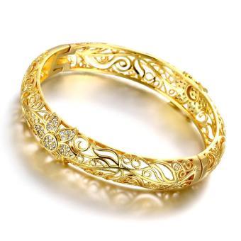 U7 Gelang Rantai Bunga Kristal Yang Indah Dapat Disesuaikan Untuk Source · Fashion Perhiasan Wanita s Cuff Bangle Gelang Berlapis Emas