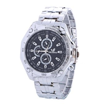 Fashion Man Watch Orlando Tachymeter Jam Tangan Rantai Pria Elegant - Black