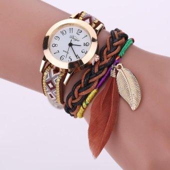 Fashion merek Women's warna-warni rajutan kain tali bulu menggantung hiasan gelang mantap Golden kasus