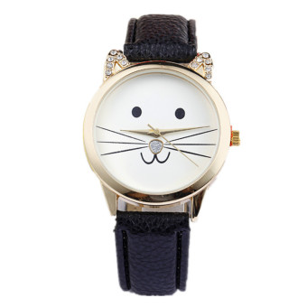 Fashion Neutral Diamond Lovely Cats Face Faux Leather Quartz Watch (Black)