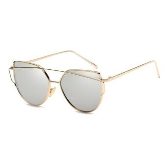 Fashion New Metal Color Film Glasses Men and Women Retro Style Sunglasses- Gold Frame White