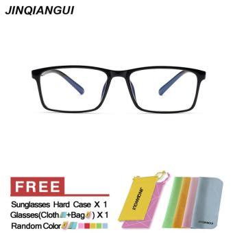 Belanja murah Fashion Pria kacamata bingkai kacamata persegi BrightBlack bingkaikacamata Frame plastik polos untuk miopia pria
